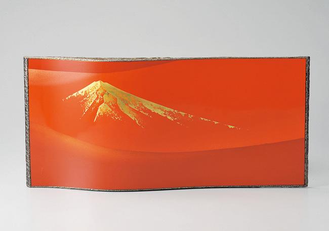 木製越前塗 赤富士 パネル 赤