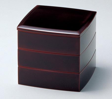 木製越前塗 胴張55三段重箱 溜内朱