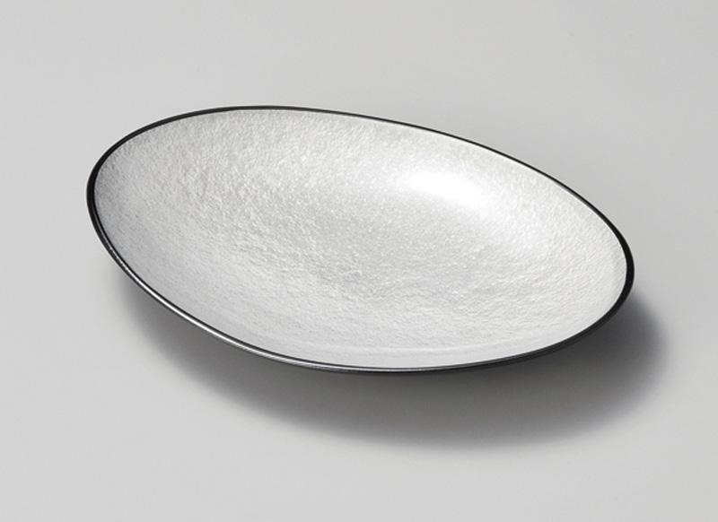 【食洗機対応】越前塗 銀雲小判皿 5枚