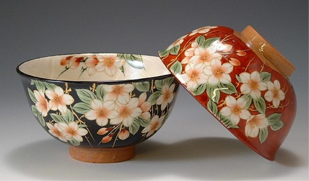 京焼き しだれ桜 ご飯茶碗
