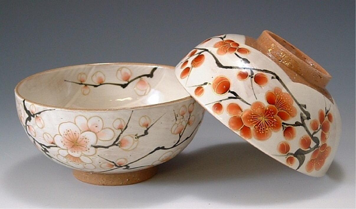京焼き 紅白梅  ご飯茶碗