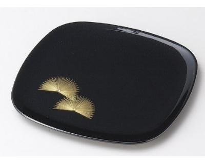 木製越前塗 沈金寿松 胴張銘々皿 黒 5枚