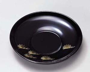 木製越前塗 沈金松 4.0寸茶托 黒 5枚