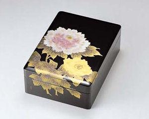 木製越前塗 富貴(牡丹) 合口文庫 黒