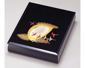 木製越前塗 月に飛鶴 文庫 黒 A4サイズ
