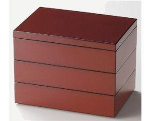 越前塗 6寸長角三段重箱 古代朱内黒