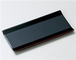 木製越前塗 広幅 おしぼり皿 黒 5枚組
