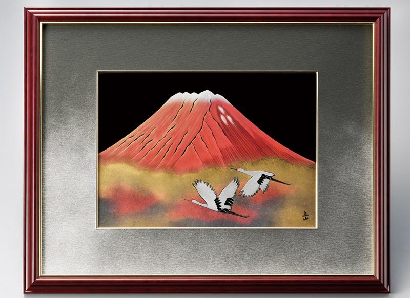 越前塗 赤富士に白鶴 パネル 1枚