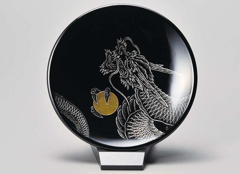 越前塗 龍 飾り皿(小)スタンド付 黒