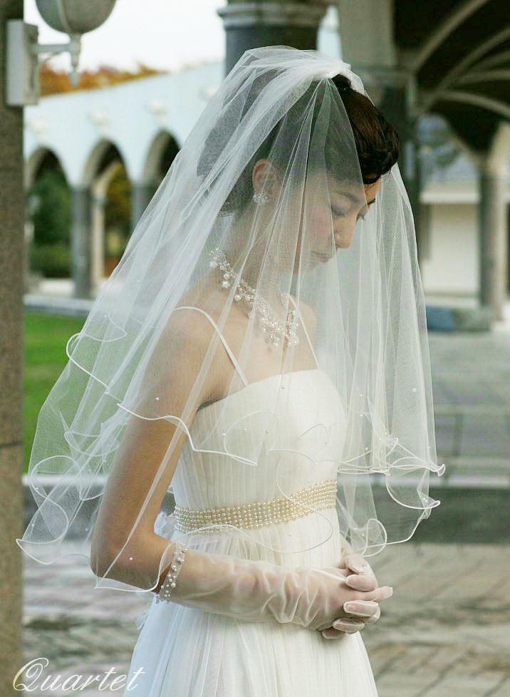 5f8fbb6202777 ウェディングベール メロウパールのショートベール 結婚式 ヴェール ウェディング