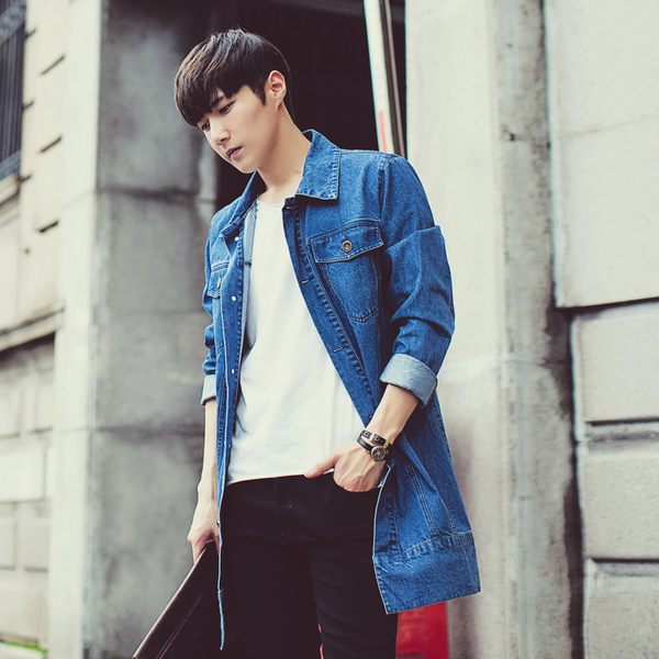 """4f6d8821a Woman wearing hip-length denim jacket with black jeans and cage heels.  Men s denim jacket G Jean denim long-length long jacket knee on tailored.   """" """""""