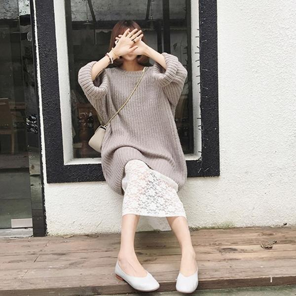 秋と冬の新しいスーツスカート緩い怠惰なレースのセーターの女性長い段落のドレス2つの潮のセット