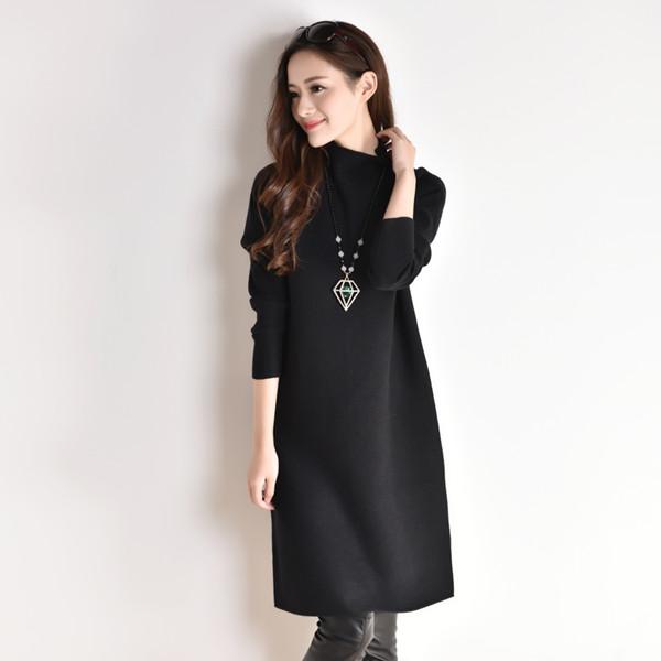 ニットドレスの女性の秋と冬の服2017新しい長袖の緩い小さな黒いドレスの潮の韓国語版の長いセクションで薄かった