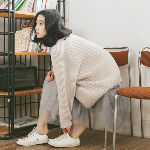 2017秋冬 女性 シンプル Vネック 長袖カーディガン ポケット ドレスセーター フリーサイズ
