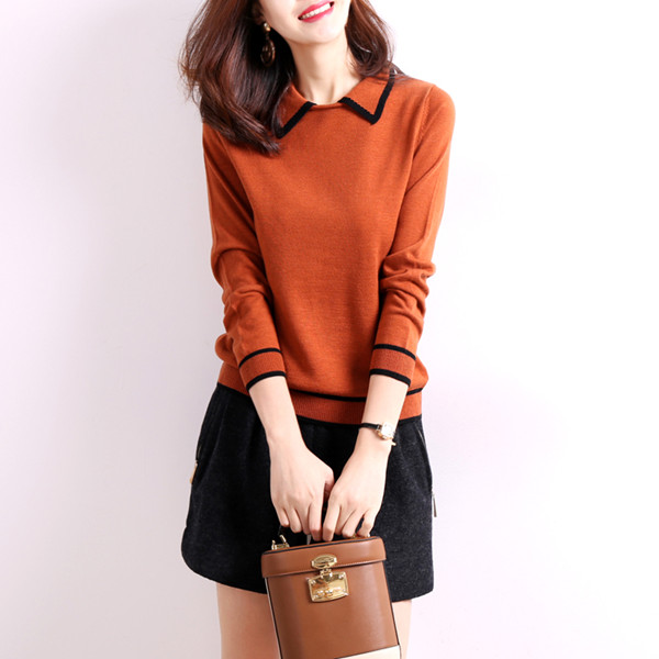 気質の赤ちゃん時代のセーターのセーターの女性の秋と冬の新しい韓国のソリッドカラーのセーター長袖シャツ