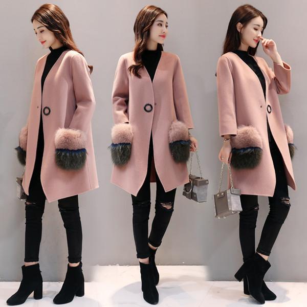 秋と冬新しい韓国の女性のファッション気質ルーズピンクのウールコートロングウールジャケットの女性