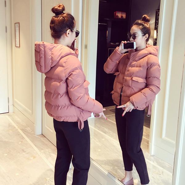 綿2017冬新しい韓国の短い段落の綿のジャケットフード付きのパンツは、暖かい綿のジャケットを埋めた