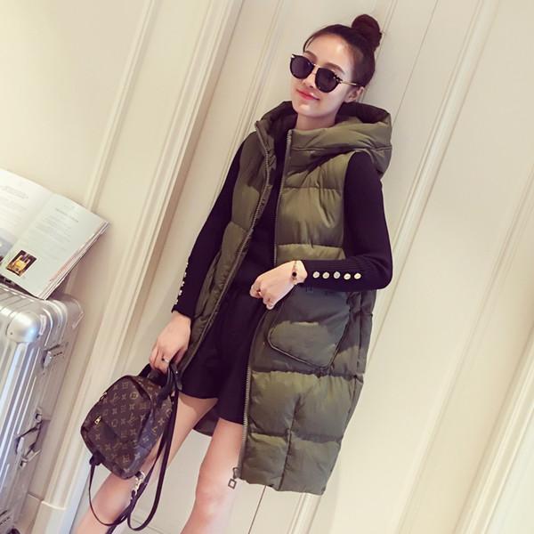 冬の女性2017新しい韓国ルーズロングダウンジャケットコットンのベストパッキング暖かいフード付きコットンスーツベスト