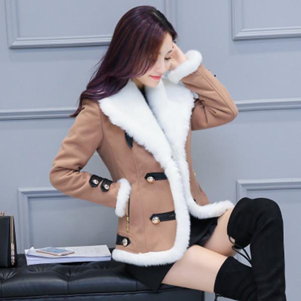 2017冬のファッション女性のラペルの韓国語バージョンスリムラムベルベット秋と冬プラスベルベット厚いウールショートジャケット