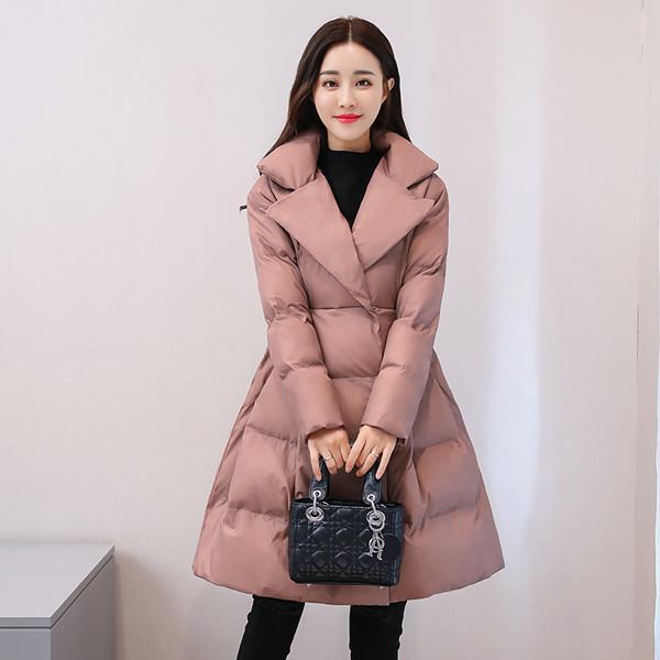 長い段落2017冬の新しい韓国の綿パッティングかわいいラペルジャケットの下の綿のパッド入りの女性