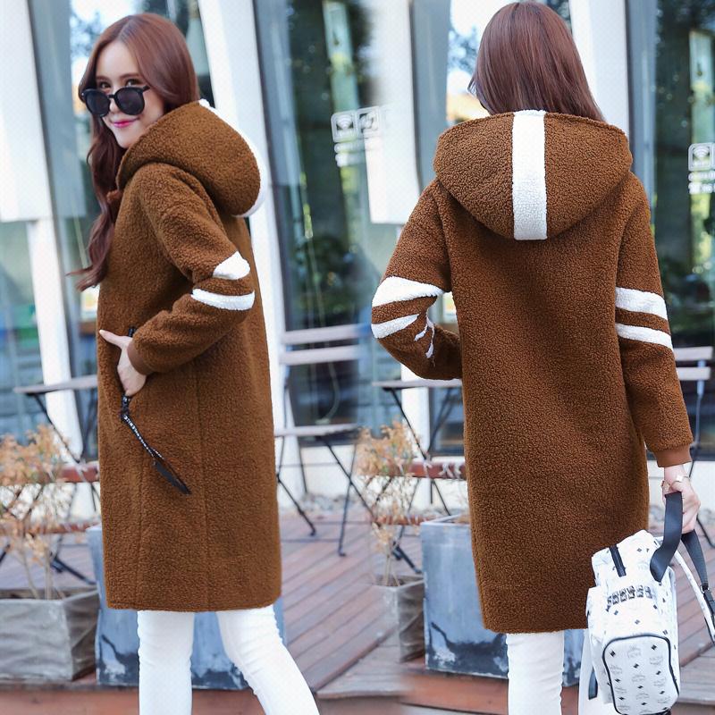 長いセクションで韓国の子羊の豪華なウールのジャケットの学生は薄いフード付きのセーターの綿のサイズでした