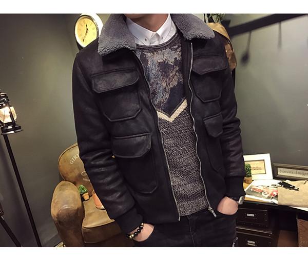 2017新しい秋と冬のファッションスリムラムファーの襟のスエードコートパッド付きジャケットショートジャケットジャケット