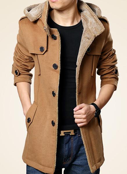 メンズ長袖冬のコートの厚さのコートとベルベットのスリムタイプ
