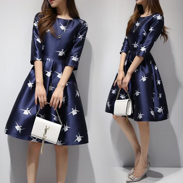 2017秋と冬の新しい女性のファッションHoundstooth印刷自己栽培の長い袖のワードドレス