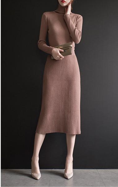2017秋と冬の新しいファッション長いセクションニットスカートプリーツスカートヒップスカートウエストロングスカート