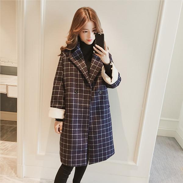 2017冬の新しい長いセクションのチェック柄のスーツの襟のウインドブレーカーのウールジャケットの女性の膝の長さのコート