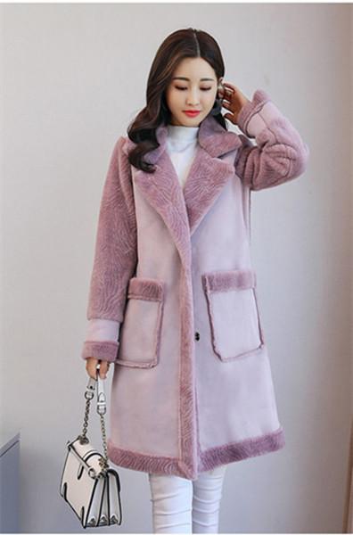 ウールコートの女性の長いセクションスリム薄い気質のスエードヒットカラーコート