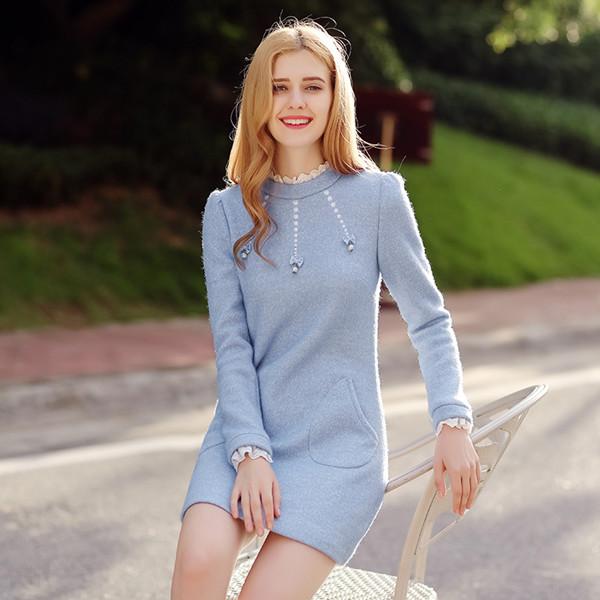 冬のウールのドレス2017新しい女性の小さな香りスリムは薄い長袖の厚いウールのボトミングスカートだった