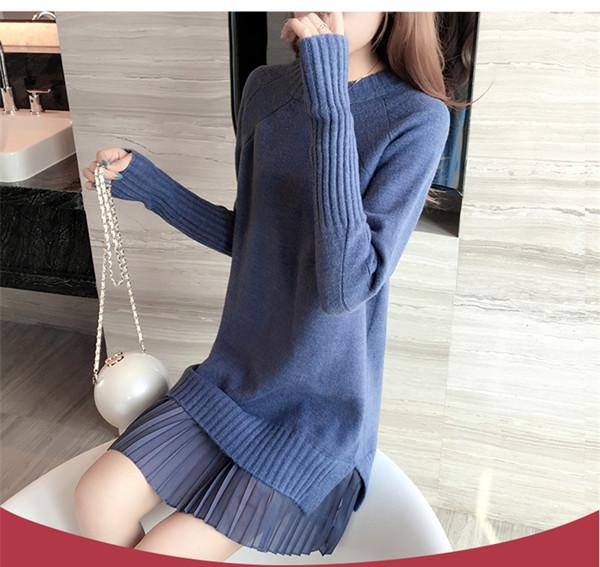 長い段落のセーターの女性のヘッジ新しい秋と冬のファッションニットドレスセータースカートで