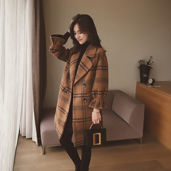 新しいルースコートコート女性の長いセクションクラシックチェック羽毛のシャツ