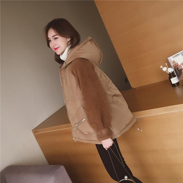 パッド入りジャケットの冬の短い段落ルーズフード付き長袖の綿のコート