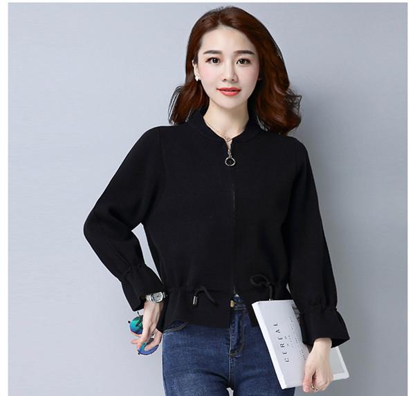 女性の新しい短いカーディガンウエストは、薄いセーターのセーターの女性の長袖だった