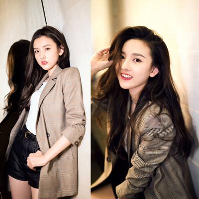 春のドレス新しい小さなスーツの女性のシックなレトロな格子の薄いコート