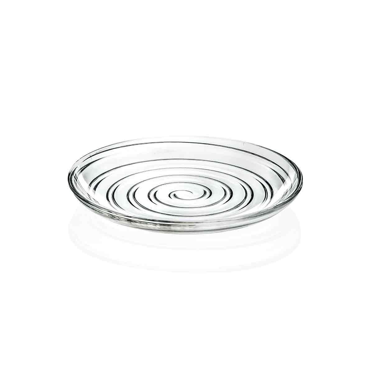 無鉛クリスタル 食洗器可 ドット 可愛い おしゃれ ガラス食器 ガラスプレート 渦巻 日本未発売 D'O 取り寄せ商品 イタリア製 RCD132 ディーオー プレート18cm 高品質新品 M.STYLE