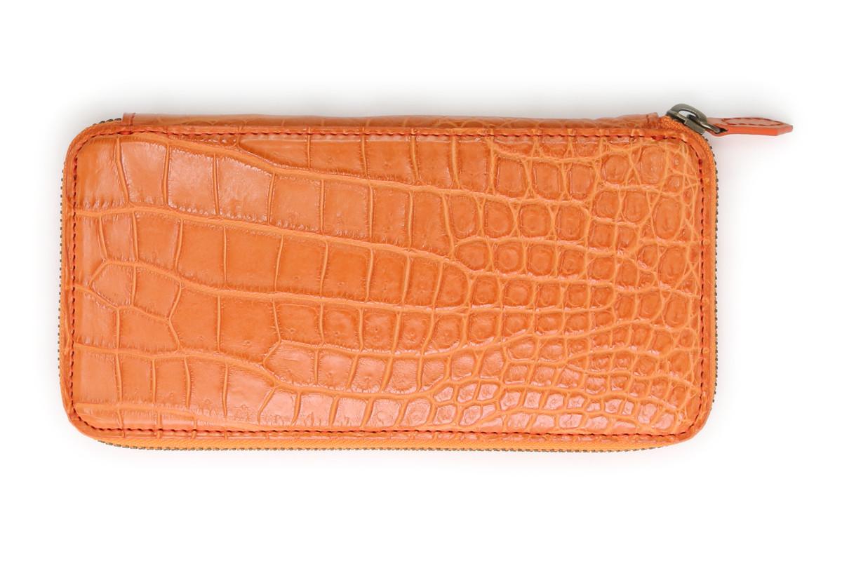 財布 メンズ 長財布 本革 レッド クアトロガッティ Quattro Gatti 財布 8101or オレンジ クロコダイル ロングウオレット