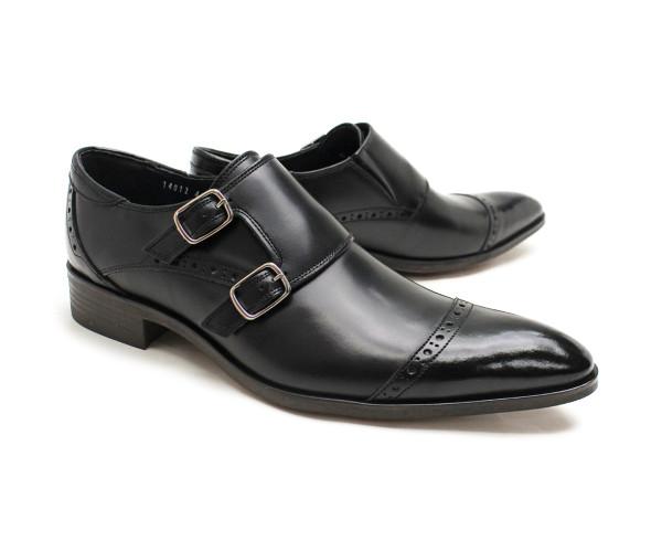 革靴 本革 ビジネスシューズ クインクラシコ QueenClassico メンズ ドレスシューズ 紳士靴 14012bk ブラック(黒) ダブルモンク日本製(国産)