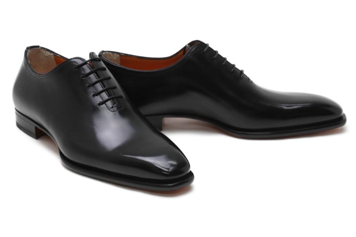 在庫僅少 24.0cm 24.5cmのみ サントーニ Santoni ビジネスシューズ 待望 本革 プレーントゥ ホールカット ドレスシューズ メンズ 革靴 イタリア製 b03c ブラック 5アイレット 数量は多