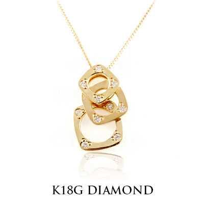 シンプルゴールド ネックレス K18 ゴールド ネックレス ペンダント 送料無料 ラッピング無料 高品質ダイヤ 18金 K18 2TYPE GOLD WG ゴールド イエロー 0.08ct プレゼント ギフト 女性 レディース necklace DIAMO