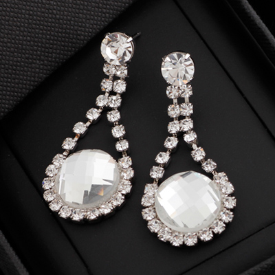 Swarovski Piercing Pearl Wedding Earrings Pierce Invited Bridal Party Accessories