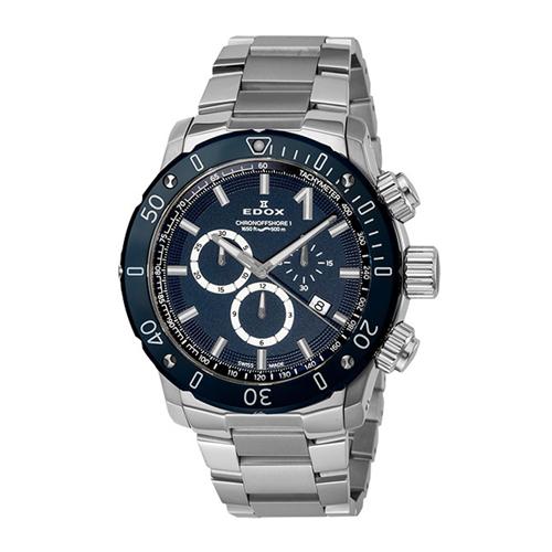 【24回払いまで無金利】 正規品 EDOX エドックス CHRONOFFSHORE-1 CHRONOGRAPH クロノオフショア1 クロノグラフ メンズ腕時計 送料無料 10221-3BU3M-BUIN3