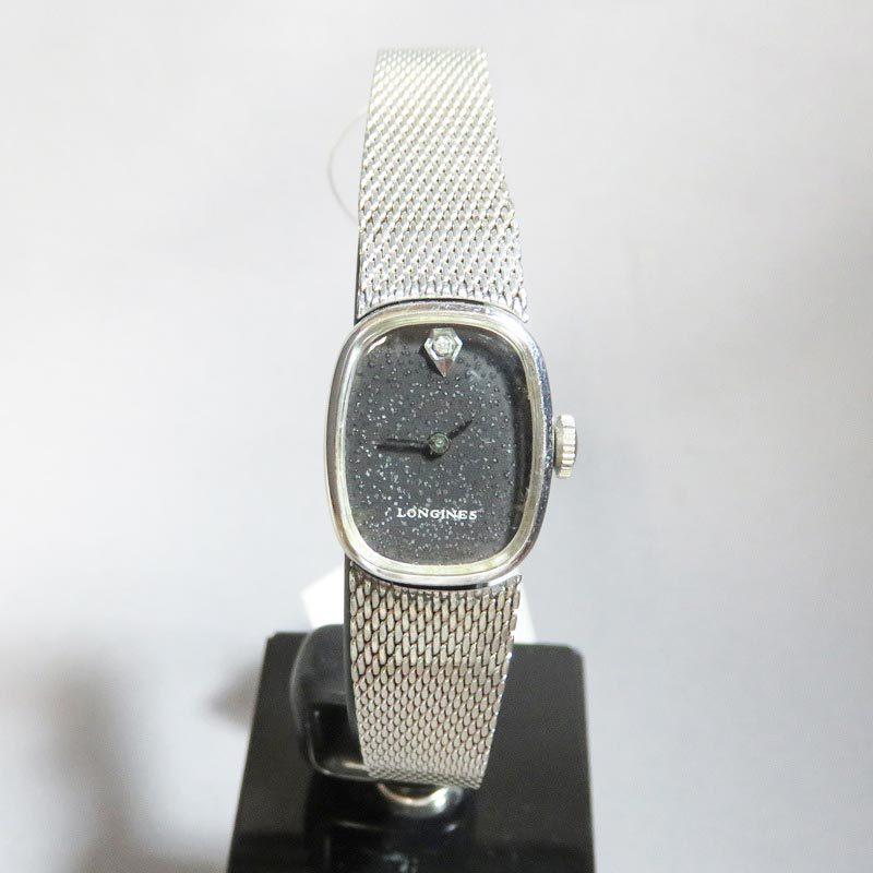 【中古】 USED品 文字盤に劣化あり 仕上げ済 LONGINES ロンジン 手巻き式 ダイヤ レディース腕時計 ブラック 3229-5602