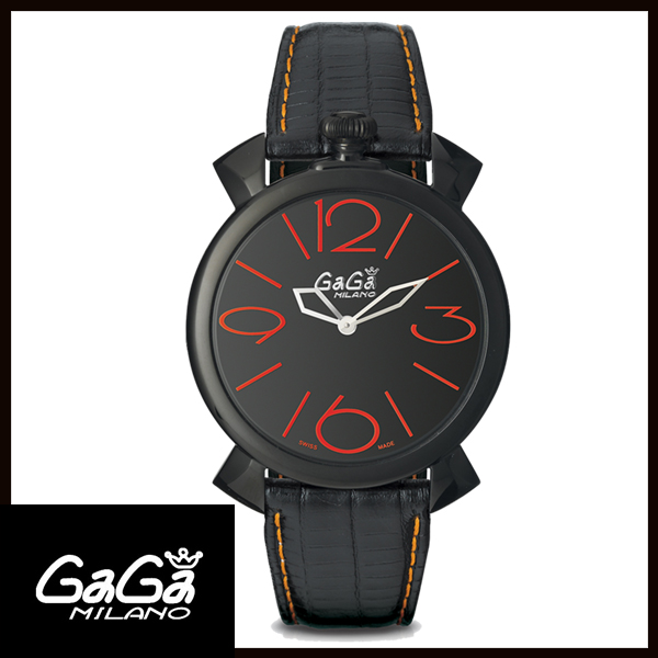【24回払いまで無金利】 【送料無料】 国内正規品 GAGA MILANO ガガミラノ MANUALE THIN 46MM ブラックPVD メンズ腕時計 5092.01【新品】