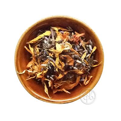 市販 ネコポス可 天然ハーブのフレーバーほうじ茶で健康に お試しに最適な30g 約15杯分 リーフ30g マリーゴールドとラベンダーが香るほうじ茶 ストア