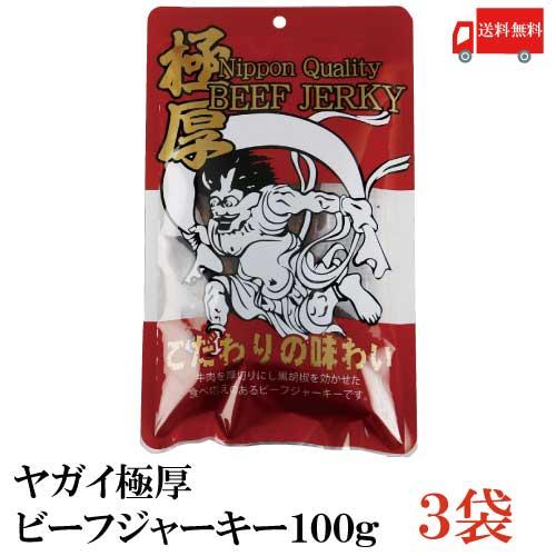 ヤガイ 極厚 特価 ビーフジャーキー 100g Nippon Quality BEEF 100g×3袋 ふるさと割 牛肉 送料無料 おつまみ JERKY 極厚ビーフジャーキー