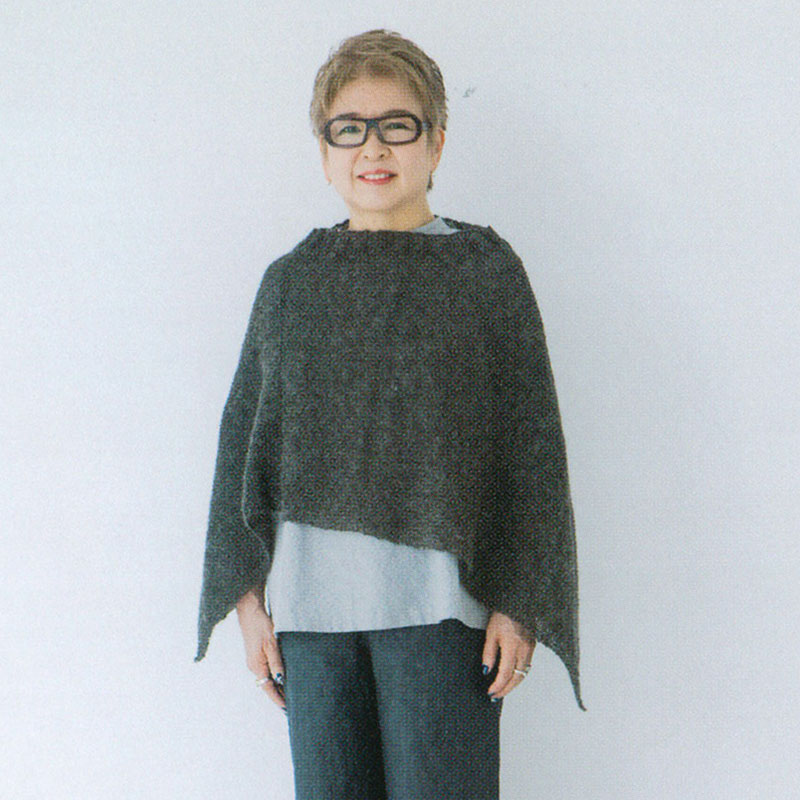 """Knit Poncho (without instructions and patterns) in """"Yoko Saito, My Favorite things, Clothes, Fabric bag, Accessories"""" 