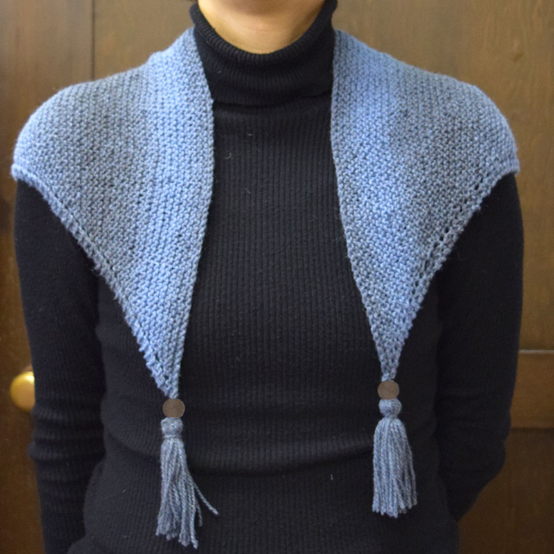 """Shawl, Blue gray, Monotone, (without instructions and patterns) in """"Yoko Saito, My Favorite things, Clothes, Fabric bag, Accessories""""   patchwork quilt, Yoko Saito"""